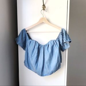 Guess chambray ruffle off shoulder crop top 633A